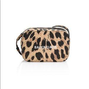 Balenciaga crossbody leopard print camera bag